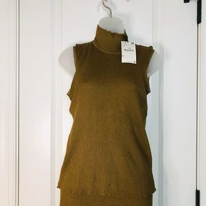 Zara knit collection Matte Gold top L NWT